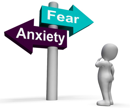 panicked: Fear Anxiety Signpost Showing Fears And Panic