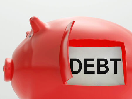 obliged: Debt Piggy Bank Meaning Arrears And Money Owed Stock Photo