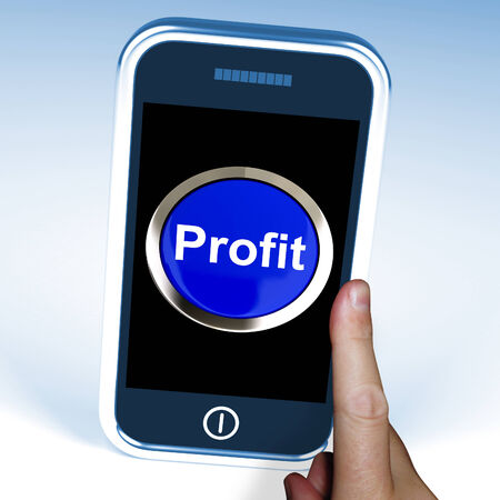 lucrative: Profit On Phone Showing Profitable Incomes And Earnings