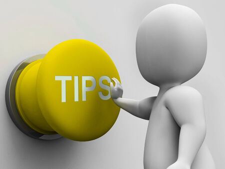 hints: Tips Button Showing Hints Guidance And Advice Stock Photo