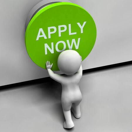 job opening: Solicitar ahora bot�n que muestra Oportunidad de Empleo y la aplicaci�n Foto de archivo
