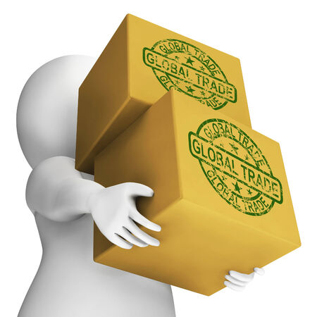 global trade: Global Trade Boxes Meaning International Buying And Selling Stock Photo