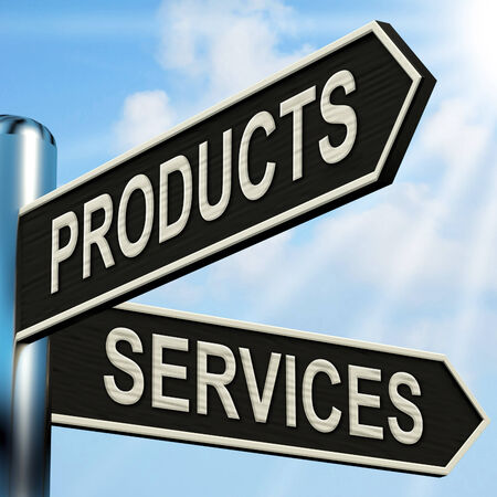 Products Services Signpost Showing Business Merchandise And Service Stock Photo - 26065947
