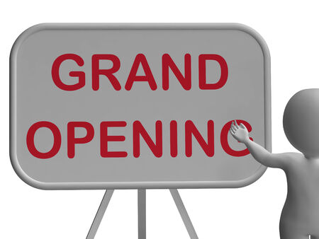 Grand Opening Whiteboard Showing New Store Open Celebration photo