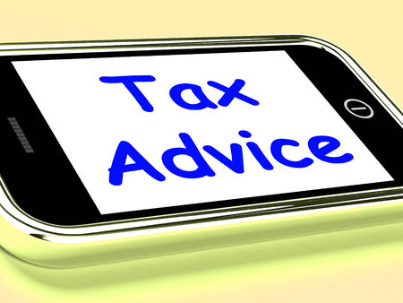 taxpayer: Tax Advice On Phone Showing Taxation Help Online Stock Photo