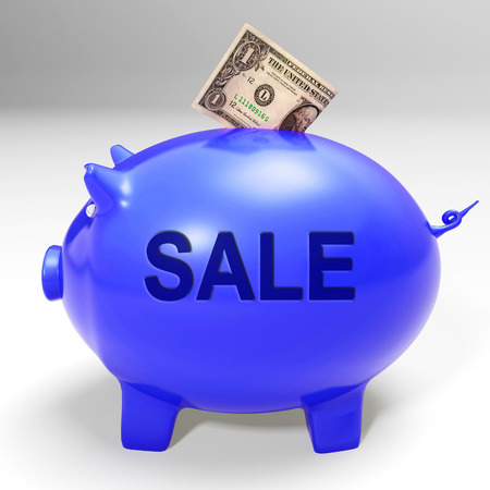 discounted: Sale Piggy Bank Showing Price Cut And Discounted Products Stock Photo