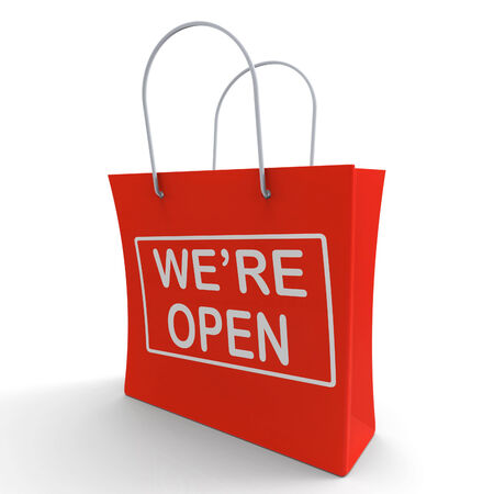 were: Were Open Shopping Bag Showing New Store Launch