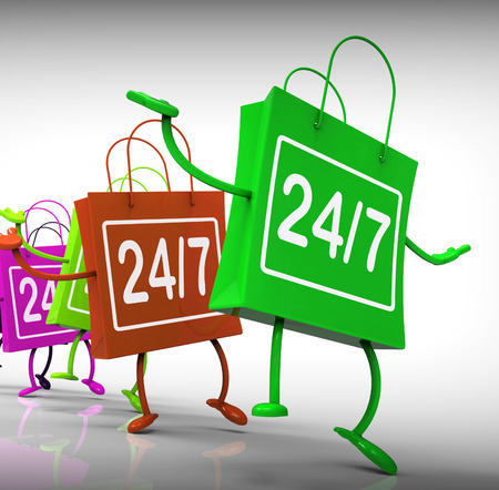 24x7: Twenty-four Seven Bags Showing Shopping Availability and Open Hours