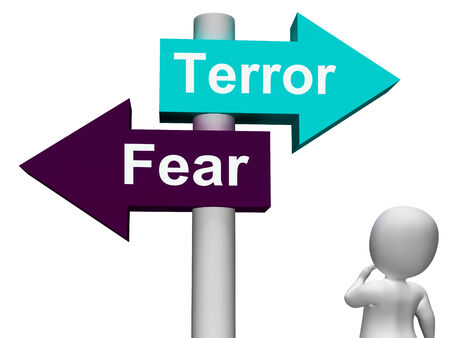 panicked: Terror Fear Signpost Showing Anxious Panic And Fears Stock Photo