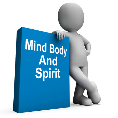 Mind Body And Spirit Book With Character Showing Holistic Books