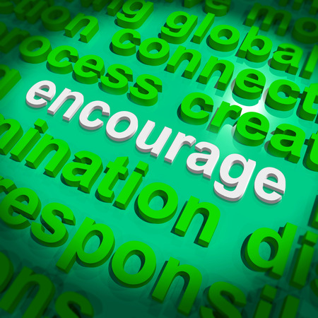 encouraged: Encourage Word Cloud Showing Promote Boost Encouraged Stock Photo