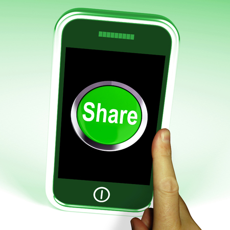 shared sharing: Share Smartphone Meaning Online Sharing And Community