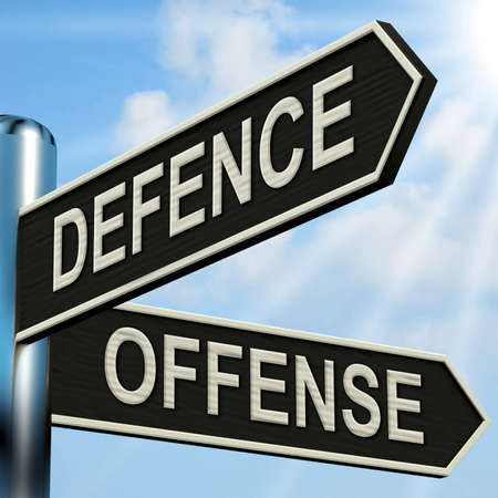defending: Defence Offense Signpost Showing Defending And Tactics