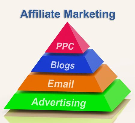 Affiliate Marketing Pyramid Showing Emailing Blogging Advertisements And PPC photo