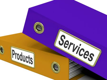 merchandise: Services Products Folders Showing Business Service And Merchandise Stock Photo