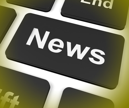 newscast: News Key Showing Newsletter Broadcast Online Stock Photo
