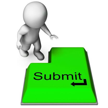 soumis: Envoyer montrant clé Envoi ou faire une demande Internet Banque d'images