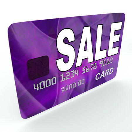 debit card: Sale On Credit Debit Card Showing Offer Bargain Promotion
