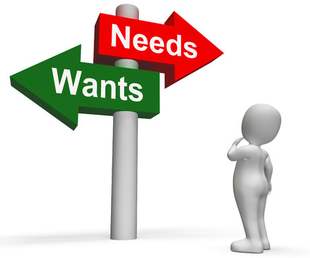 materialism: Wants Needs Signpost Showing Materialism Want Need Stock Photo
