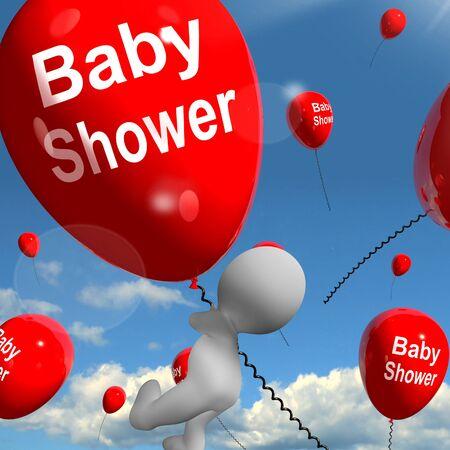 festividades: Globos Baby Shower Mostrando Partes alegres y Fiestas Foto de archivo