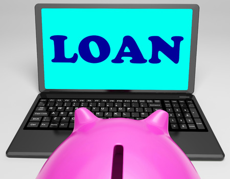 Loan Laptop Meaning Lending And Borrowing Money Stock Photo - 26235028