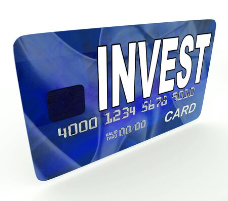 Invest on Credit Debit Card Showing Investing Money Фото со стока