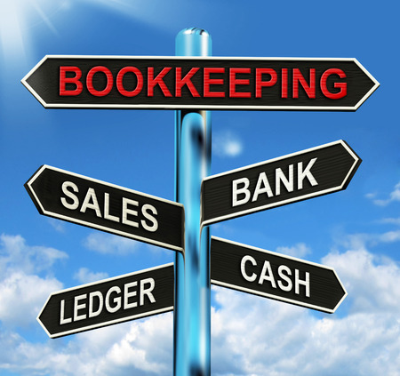 Bookkeeping Sign Meaning Sales Ledger Bank And Cash Stock Photo