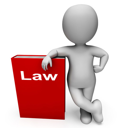 lawfulness: Law Book And Character Showing Books About Legal Justice
