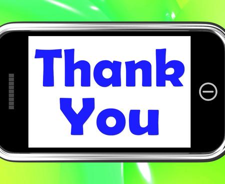 agradecimiento: Gracias Por Tel�fono mostrar gratitud y aprecio Textos Foto de archivo