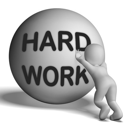 slog: Hard Work Uphill 3D Character Showing Difficult Working Labour Stock Photo