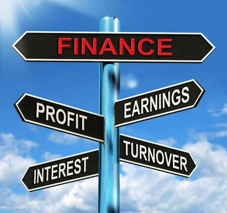 turnover: Finance Signpost Showing Profit Earnings Interest And Turnover Stock Photo