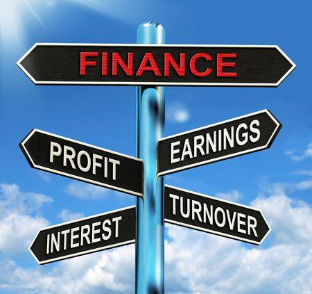omzet: Financiën Signpost Toont Winst Winst Interesse En Omzet