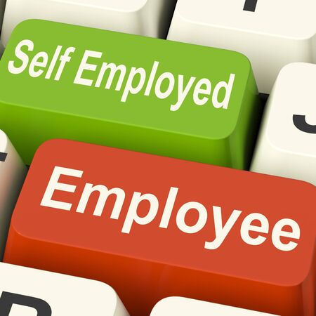 Employee Self Employed Keys Meaning Choose Career Job Choice Stock Photo - 26235247