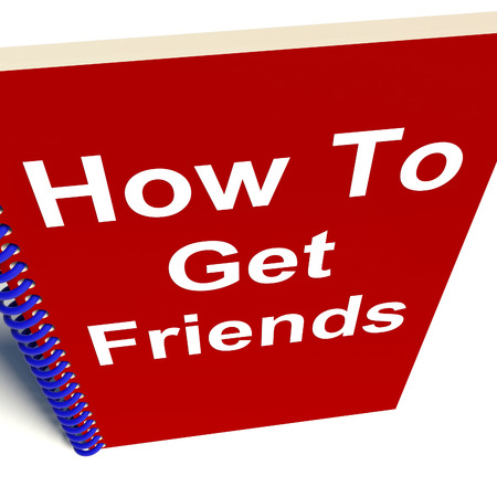chums: How to Get Friends on Notebook Representing Getting Buddies Stock Photo