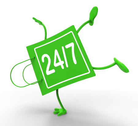 24x7: Handstand Shopping Bag Twenty Four Seven Shows Open 247 Stock Photo