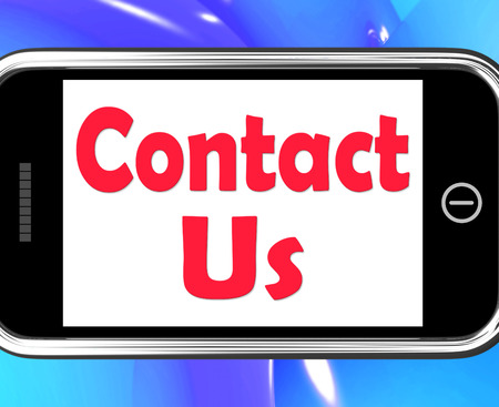 Contact Us On Phone Showing Communicate Online photo