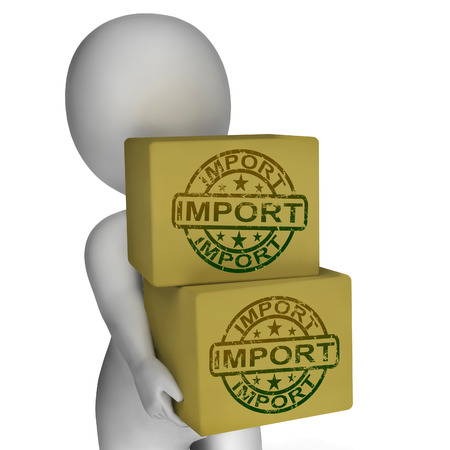 Import Boxes Showing Imported Global Goods And Merchandise Stock Photo - 26235434