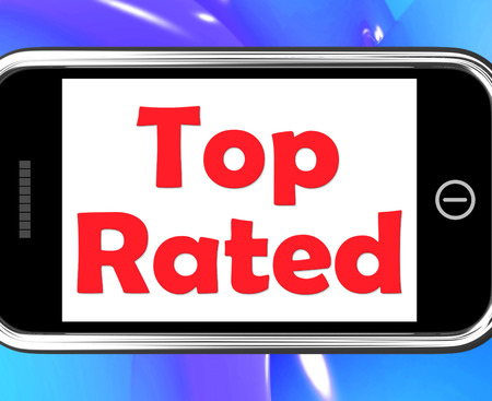 ranked: Top Rated On Phone Showing Best Ranked Special Product Stock Photo