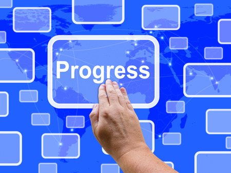 Progress Touch Screen Meaning Maturity Growth  And Improvement Stock Photo
