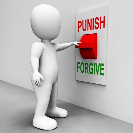 punish: Punish Forgive Switch Showing Punishment or Forgiveness Stock Photo