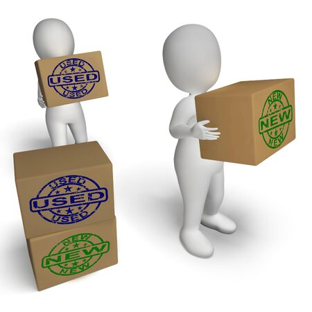 secondhand: New And Used Boxes Showing Newly Arrived And Second-Hand Products