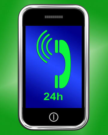 24x7: Twenty Four Hour On Phone Showing Open 24h Stock Photo