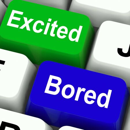 tedious: Excited Bored Keys Showing Exciting And Boring Websites