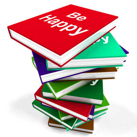 happier: Be Happy Notebook Meaning Advice on Being Happier or Merry Stock Photo