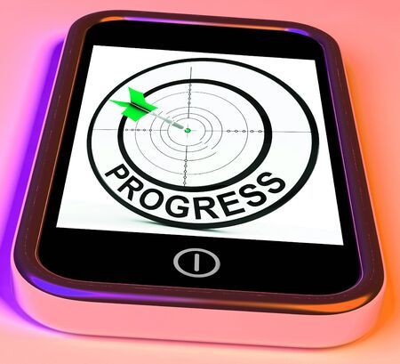 advancement: Progress Smartphone Showing Advancement Improvement And Goals Stock Photo