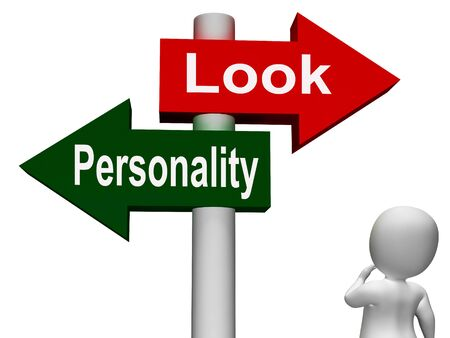 superficial: Look Personality Signpost Showing Character Or Superficial