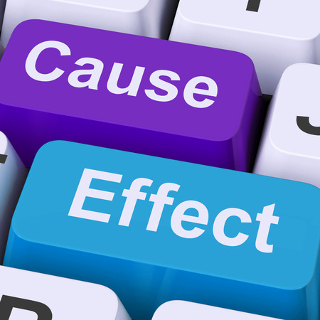 結果の行動や反応を意味原因効果キー 写真素材