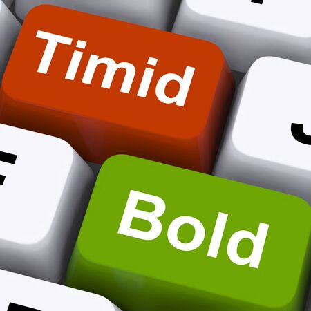 outspoken: Timid Bold Keys Showing Shy Or Outspoken
