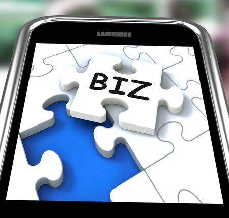 biz: Biz Smartphone Meaning Internet Company Or Commerce Stock Photo