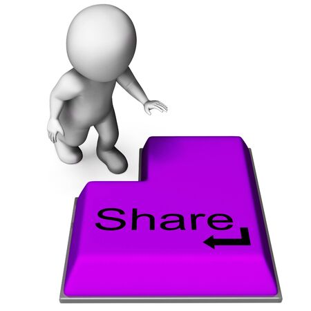 shared sharing: Share Key Meaning Posting Or Recommending On Web Stock Photo